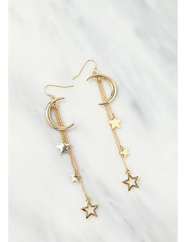 Gold Moon &Amp; Star Dangle Earrings by Love Culture