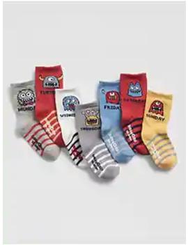 Baby Monster Days Of The Week Crew Socks (7 Pack) by Gap