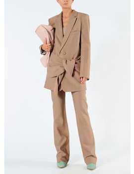 Linen Viscose Long Blazer With Removable Tie by Tibi