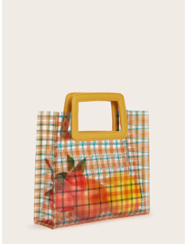 Clear Plaid Tote Bag by Romwe