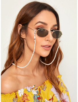 Faux Pearl Beaded Glasses Chain by Romwe