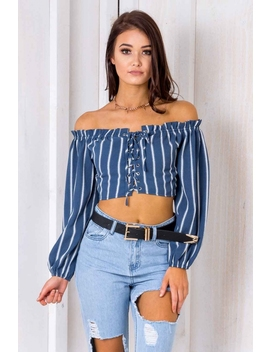 San Diego Top  Blue Striped by Stelly