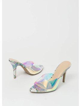 Not A Hologram Snake Print Mule Heels by Go Jane