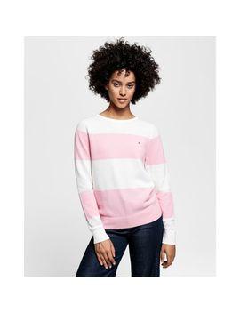 Gant Cotton Piqué Block Stripe Crew Sweater by Gant Uk
