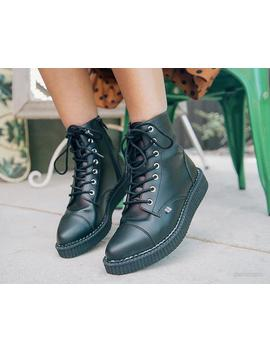 Black Tu Kskin™ Pointed Lace Up Boot by Tuk