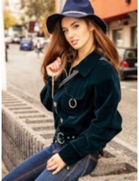 Single Breasted Pocket Belt Zipper Women's Jacket by Tb Dress