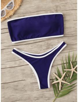 Contrast Binding Bandeau With High Leg Bikini Set by Romwe