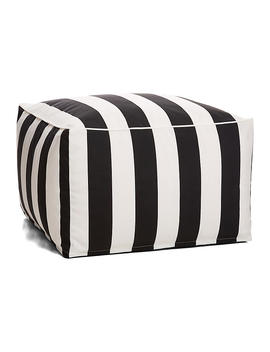 Cabana Stripe Outdoor Square Pouf, Black/White by One Kings Lane