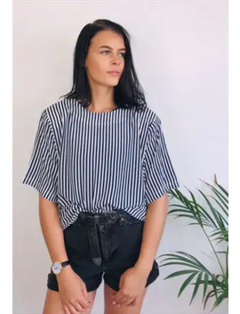 Vintage 80s Stripe Oversized Top by Vintage Abs