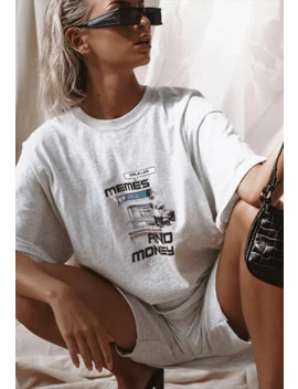 Graphic 'memes And Money' Oversized T Shirt In Grey by Sisters &Amp; Seekers
