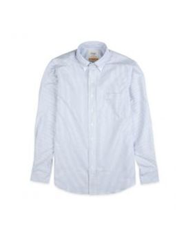 Blue Ticking Stripe Slim Fit Shirt With Button Down Collar by Drake's