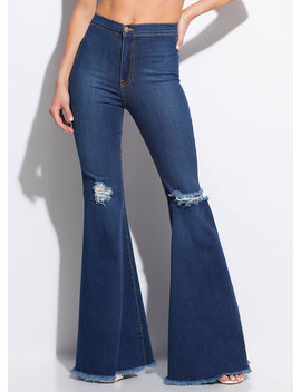 Go Retro Fringed Bell Bottom Jeans by Go Jane
