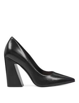 Henra Splayed Heel Pumps   Black Leather by Nine West