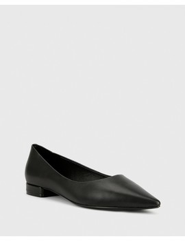 Marina Black Leather Pointed Toe Slip On Flat by Wittner