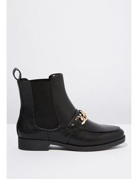 Jordy Chain Ankle Boot   Black by Cotton On