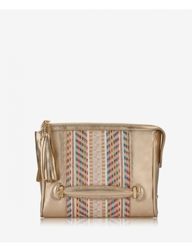 Dana Crossbody by Gold Geometric Straw With Pebble Grain