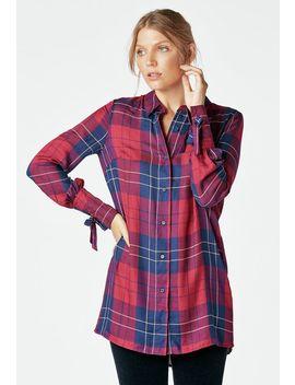 Tie Sleeve Plaid Shirt by Justfab