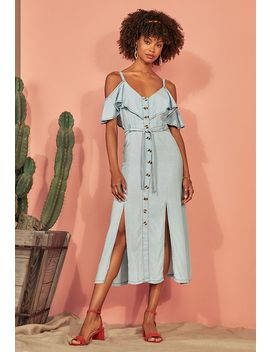Cold Shoulder Chambray Dress by Justfab