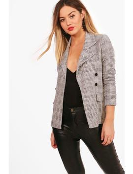Petite Check Button Sleeve Blazer by Boohoo