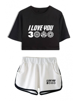Hot Fashion Letter I Love You 3000 Cropped T Shirt Relaxed Shorts Summer Two Piece Set by Beautiful Halo