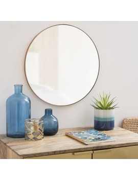 Matte Gold Round Metal Mirror D48 by Warren