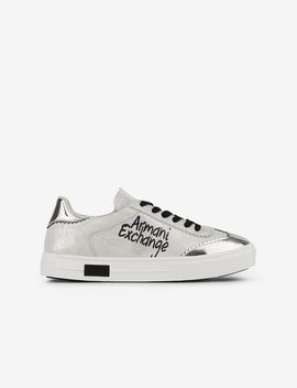 Leather Sneakers With Lettering And Mirror AppliquÉs by Armani Exchange