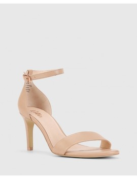 Imina Nude Leather Ankle Strap Stiletto Heel Sandal by Wittner