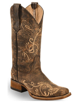 Circle G Dragonfly Embroidered Cowgirl Boots   Square Toe by Circleg