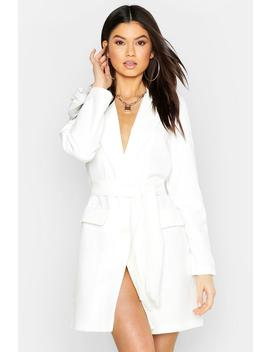 Woven Belted Blazer Dress by Boohoo