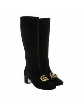 Mid High Boots Velvet Black by Gucci