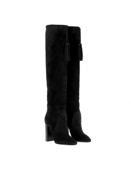 Meurice Tasseled Boots Suede Black by Saint Laurent