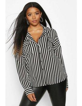 Plus Stripe Pocket Shirt by Boohoo