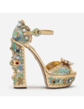 Customized Floral Peep Toe Chunky Heel Rhinestone Sandals by Tb Dress