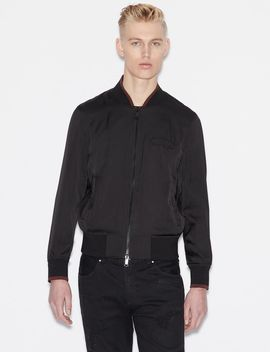 Bomber Jacket With Contrasting Edges And Decoration On The Back by Armani Exchange
