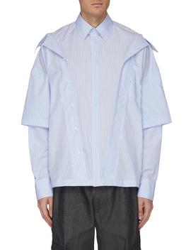 Layered Collar Button Placket Stripe Shirt by Feng Chen Wang