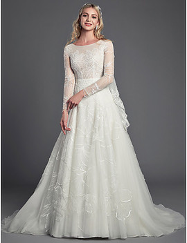 A Line Jewel Neck Court Train Lace / Tulle Made To Measure Wedding Dresses With Beading / Lace By Lan Ting Bride®  #07012499 by Lightinthebox