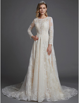 A Line Jewel Neck Cathedral Train Lace Made To Measure Wedding Dresses With Lace / Sashes / Ribbons By Lan Ting Bride®  #07012546 by Lightinthebox