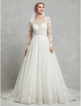 A Line Jewel Neck Chapel Train Lace / Tulle Made To Measure Wedding Dresses With Appliques / Lace By Lan Ting Bride®  #06749457 by Lightinthebox