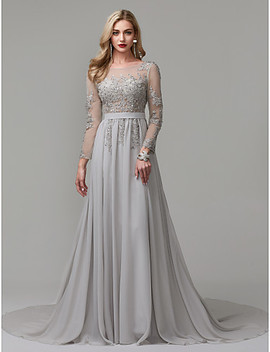 A Line Illusion Neck Chapel Train Chiffon / Lace Over Tulle See Through Formal Evening Dress With Appliques / Pleats By Ts Couture® / Illusion Sleeve  #05143003 by Lightinthebox