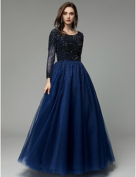Ball Gown Scoop Neck Floor Length Tulle Sparkle & Shine Formal Evening Dress With Beading / Sequin By Ts Couture® / Illusion Sleeve  #06804450 by Lightinthebox