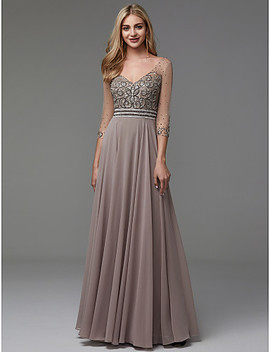 A Line V Neck Floor Length Chiffon / Tulle See Through Prom / Formal Evening Dress With Beading By Ts Couture® / Illusion Sleeve  #06665460 by Lightinthebox