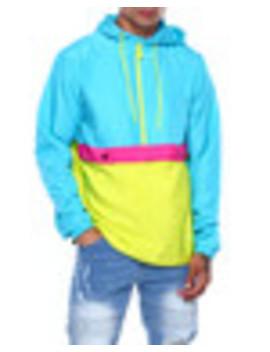 Neon Teal Colorblock Windbreaker by Buyers Picks