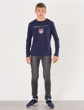 Gant Barnkläder   Shield Logo Long Sleeve   Blå. by Gant