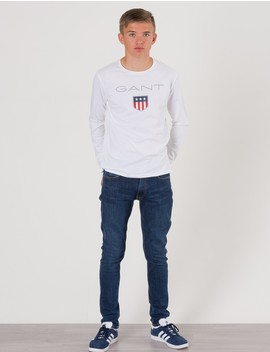 Gant Barnkläder   Shield Logo Long Sleeve   Vit. by Gant