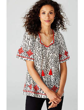 Pintucked Embroidered Print Top by J.Jill