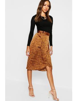 Leopard Satin Wrap Midi Skirt by Boohoo