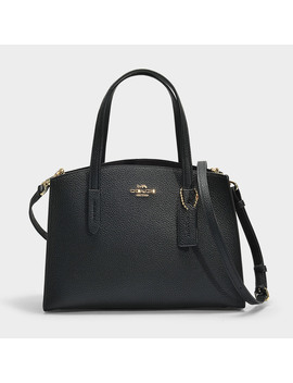 Charlie 28 Carryall In Black Polished Pebble Leather by Coach