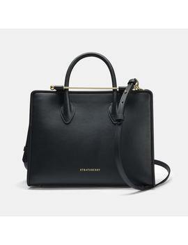 The Strathberry Midi Tote In Black Calfskin by Strathberry