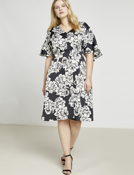 Cape Sleeve Midi Dress by Eloquii