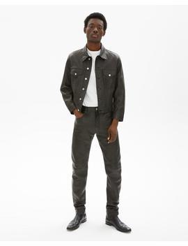 Masc Trucker Raw Leather Jean Jacket by Helmut Lang
